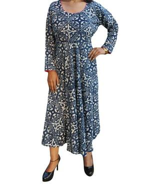 821c6a193755 Product Image Mogul Womens Free and Easy Boho Summer Cotton Printed Flare  Long Dress Round Neck Maxi Sundress