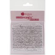 """Woodware Clear Stamps 3.5""""X3.5""""-Shipped Script"""
