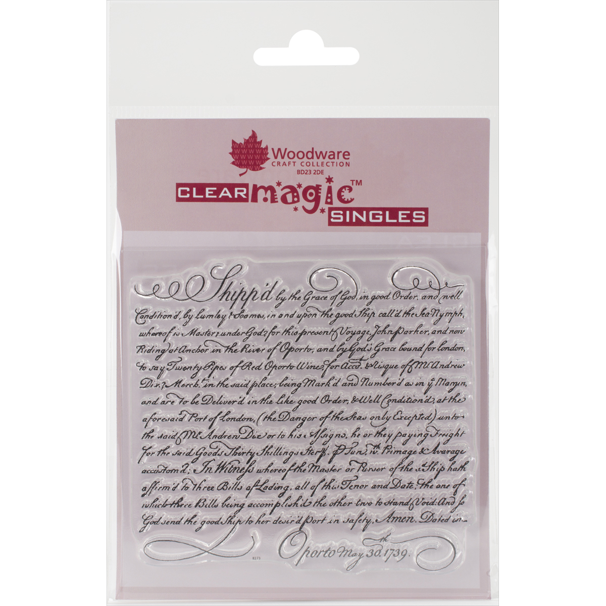 "Woodware Clear Stamps 3.5""X3.5""-Shipped Script"