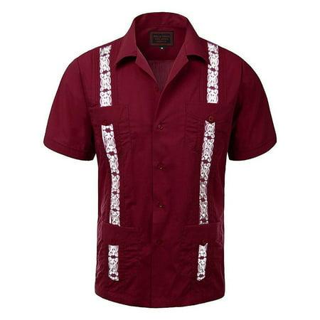 Guayabera Wedding Shirts (Maximos Men's Guayabera Two Tone Cuban Beach Wedding Short Sleeve Button Up Casual Dress Shirt Burgundy Red White)