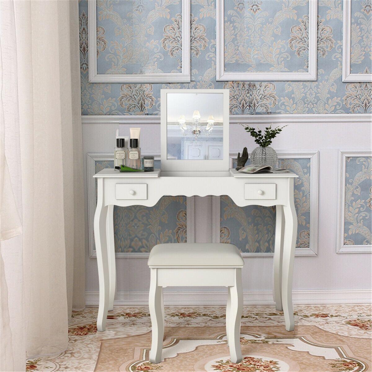 Costway Dressing Table Vanity Set Mirrored Bathroom W
