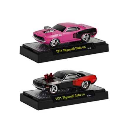 Ground Pounders 1971 Plymouth Cuda 440 2pc Car Set Release 11D IN BLISTER PACK 1/64 Diecast Model Cars by M2