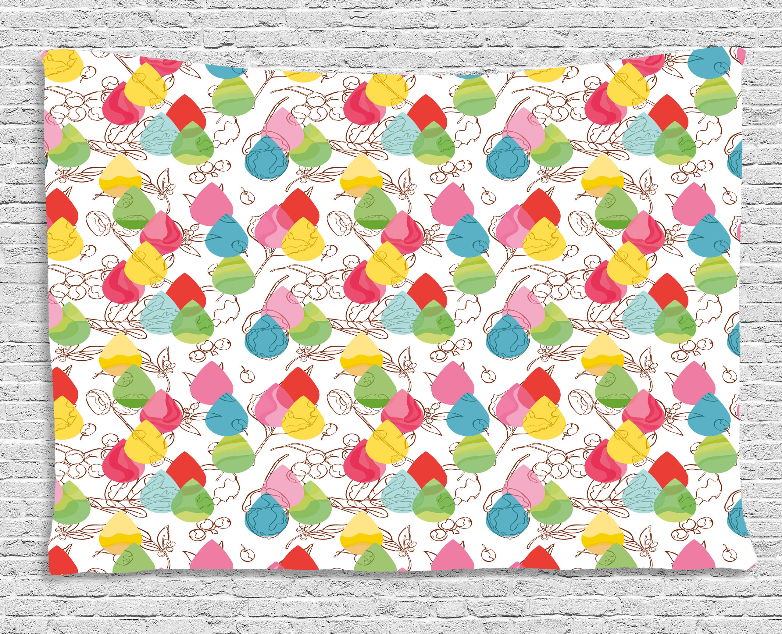 Modern Decor Tapestry, Rainbow Colored Ombre Abstract Raindrop Backdrop  With Leaves And Flowers Image,