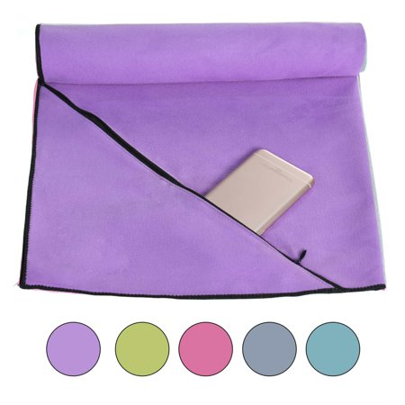 """JML Sport Towel,Compact,Super Absorbent And Quick Drying Microfiber Yoga Towel,Fitness Towel With Ziper Pocket For Swimming,Bath,travel,Large 20"""" x 40"""", ..."""