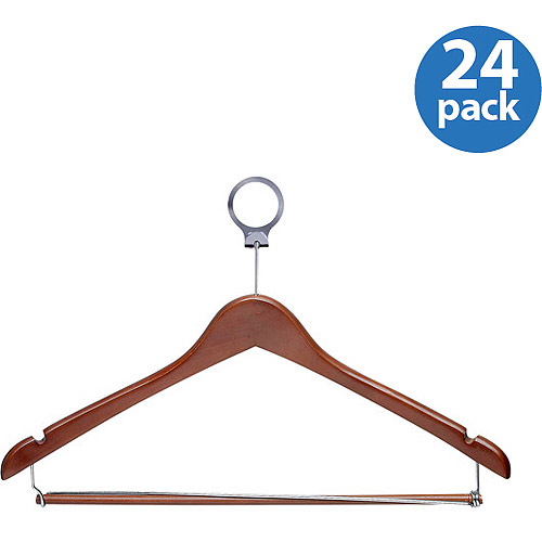Honey Can Do 24pk Hotel Hangers with Locking Bar, Cherry