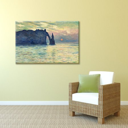 - Wall26 - The Cliff, Etretat, Sunset by Claude Monet - Canvas Print Wall Art Famous Painting Reproduction - 32