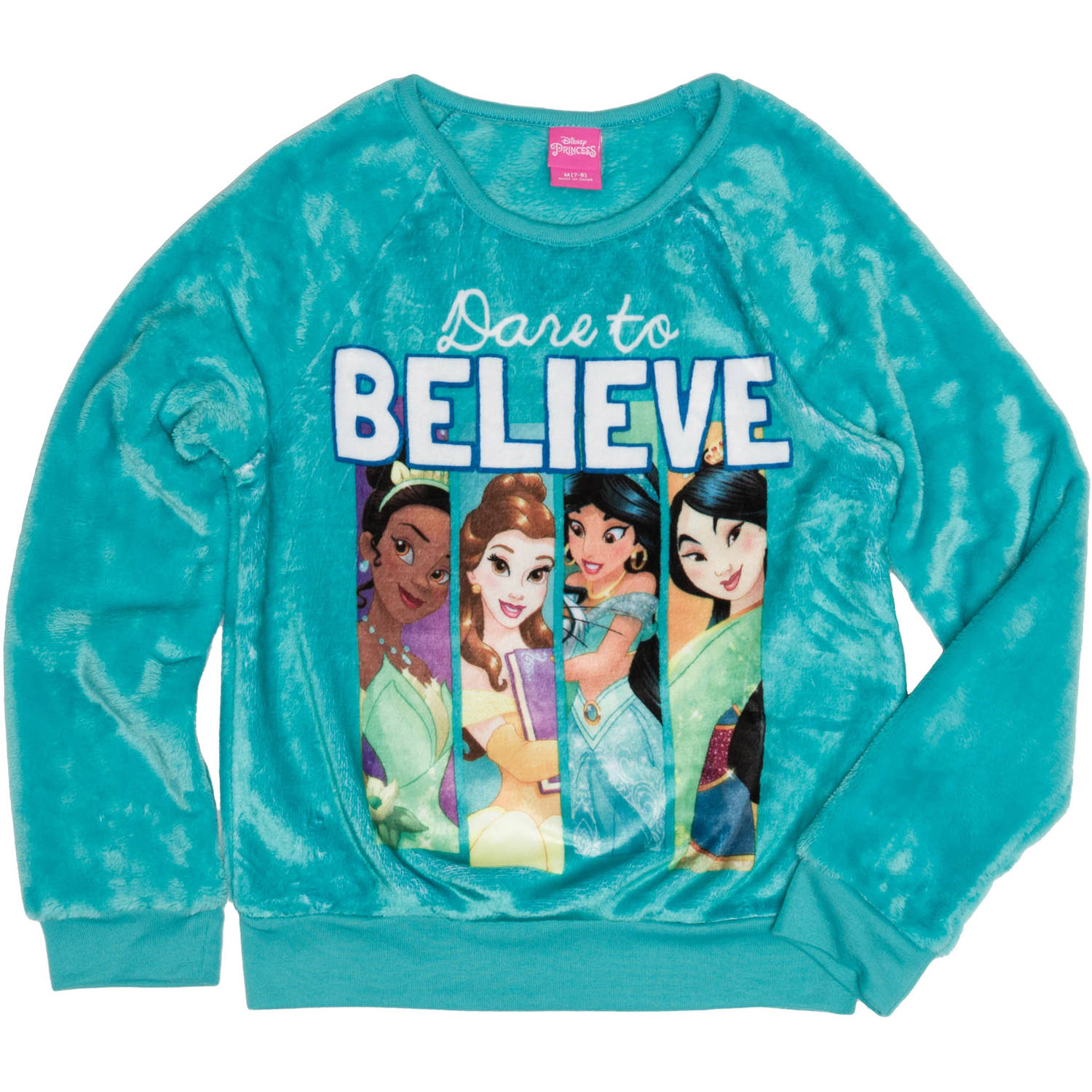 Disney Princess Girls' Dare to Believe Long Sleeve Crew Neck Sweatshirt