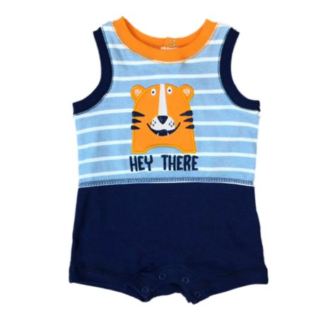 Infant Boys Hey There Bodysuit Baby Outfit Blue Stripe Tiger Cat - Tigger Onesie