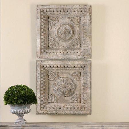 Uttermost Auronzo Aged Ivory Squares - Set of 2