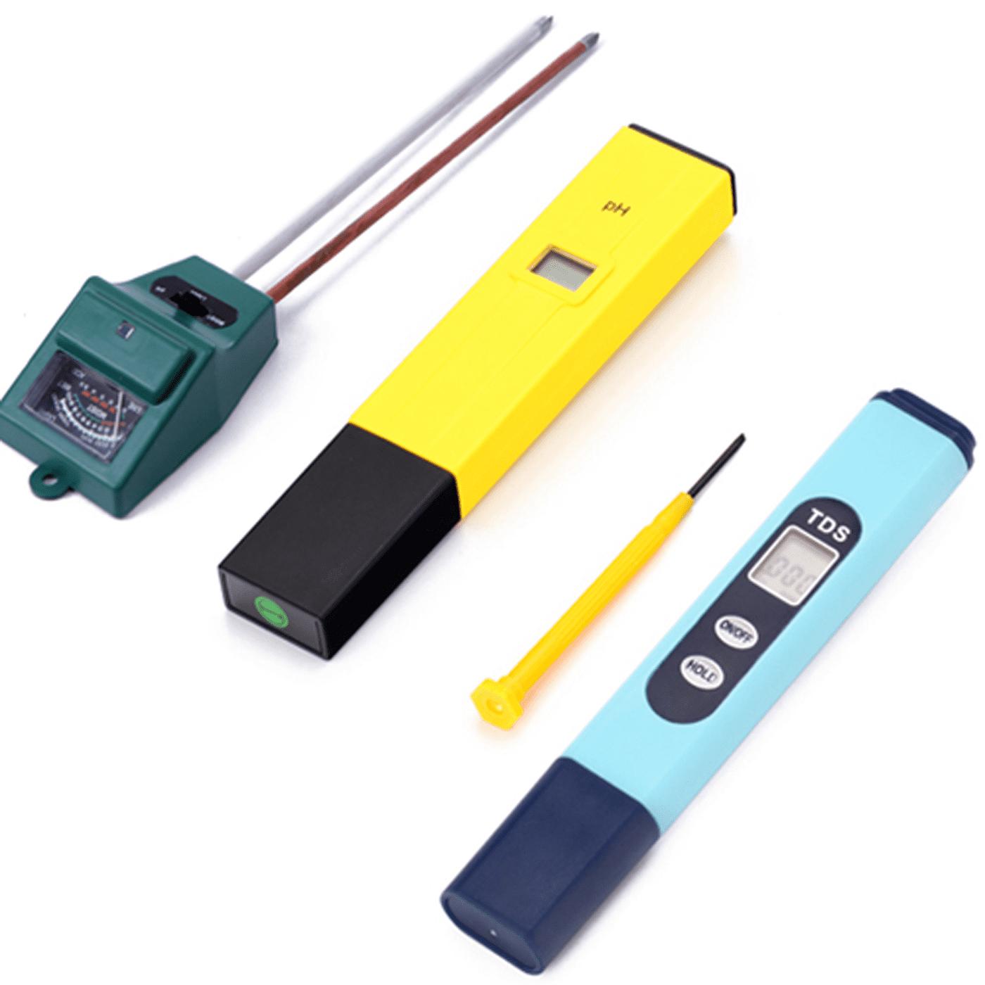 HDE Hydroponic Fruit Vegetable Grow Kit- 3-in-1 Soil Light Sensor + TDS ppm Test Pen + pH Meter Digital Monitor