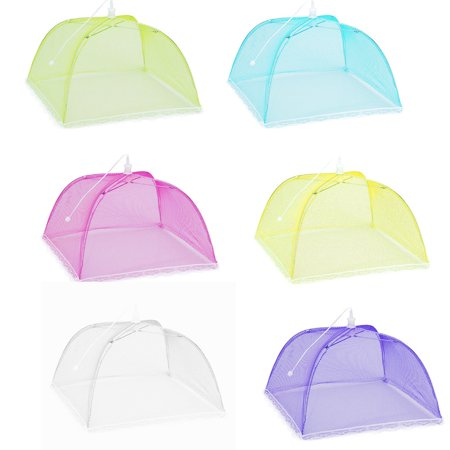Set 6 Large Pop-Up Mesh Screen Protect Food Cover Tent Dome Net Umbrella Picnic ()