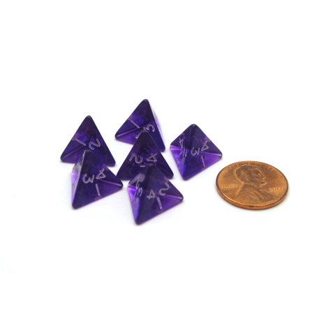 Translucent 12mm Mini 4 Sided D4 Chessex Dice, 6 Pieces - Purple with White - Purple Fuzzy Dice