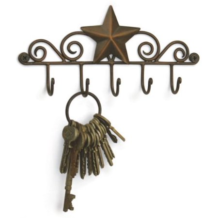 Colonial Tin Star Key Rack Exclusive Key Holder Wall Organizer - Aged Copper Rustic Western American Decor