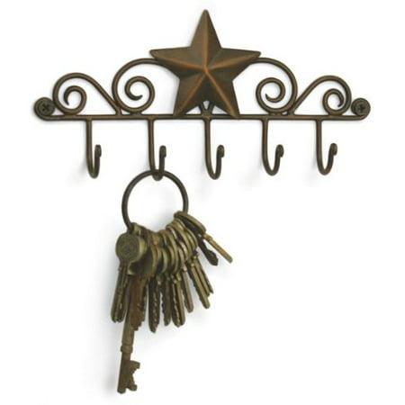 - Colonial Tin Star Key Rack Exclusive Key Holder Wall Organizer - Aged Copper Rustic Western American Decor