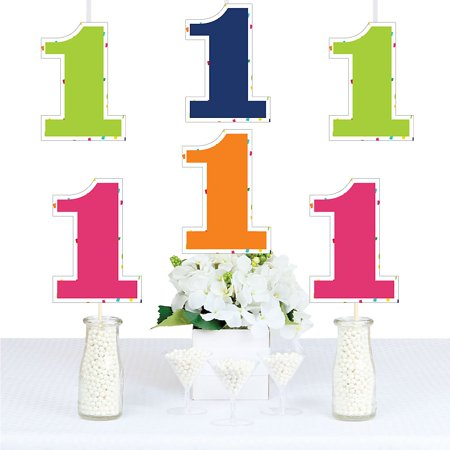 1st Birthday - Cheerful Happy Birthday - Thirty Shaped Decorations DIY Colorful First Birthday Party Essentials - Set of 20](Dirty Thirty Birthday Decorations)