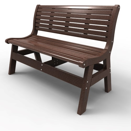Bench with Back by Malibu Outdoor - Newport, Dark Brown 48''