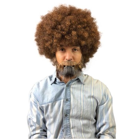 80's Bob Ross Painter Short Brown Afro Wig with Full Beard and Mustache Set Adult Size HM-898A - Anime Guy With Beard