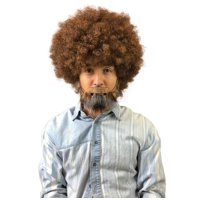 80's Bob Ross Painter Short Brown Afro Wig with Full Beard and Mustache Set Adult Size HM-898A