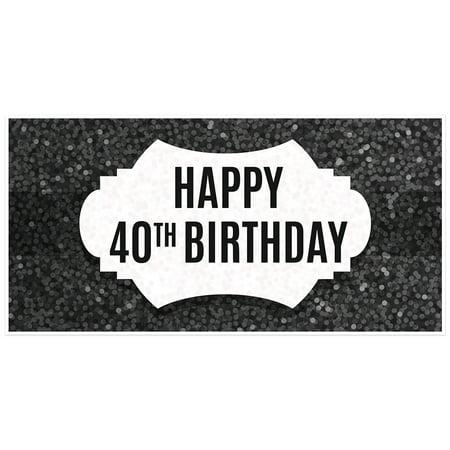 Black Glitter 40th Birthday Banner](40th Birthday Banners)
