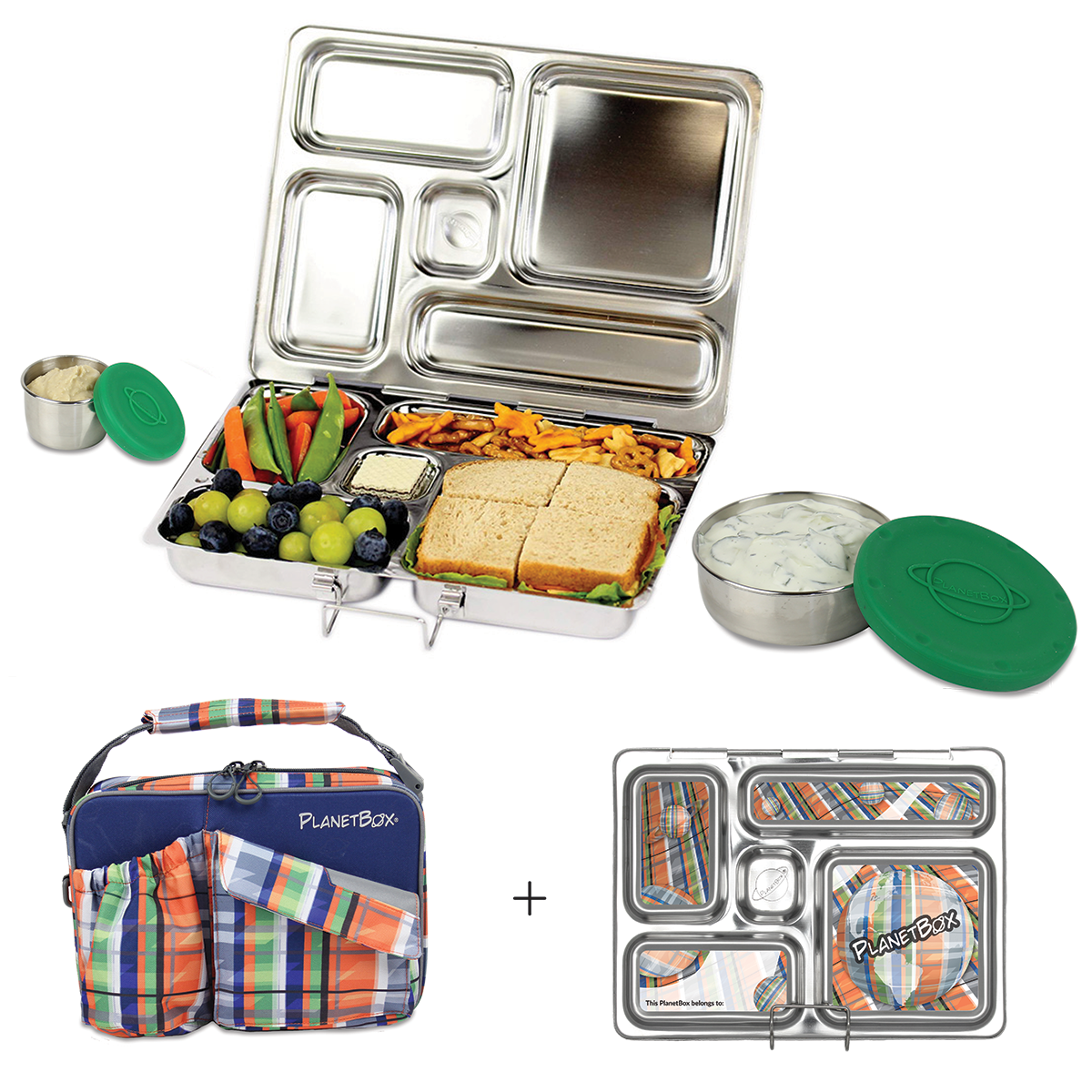 PlanetBox Rover Lunchbox - Plaid Carry Bag with Planet Pl...