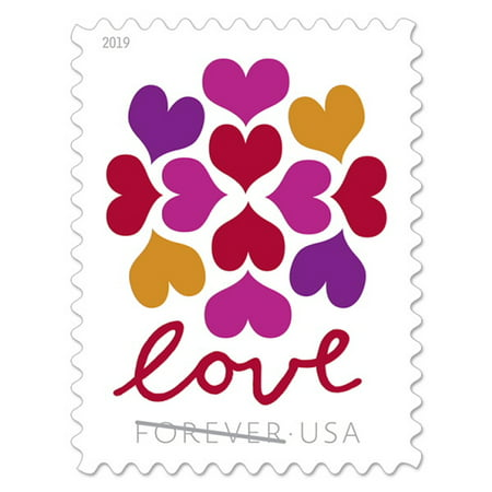 Cherry Blossom Stamps (Heart Blossom 5 Sheets of 20 USPS Forever First Class Postage Stamps Love Celebrate Wedding Beauty (100 Stamps) )