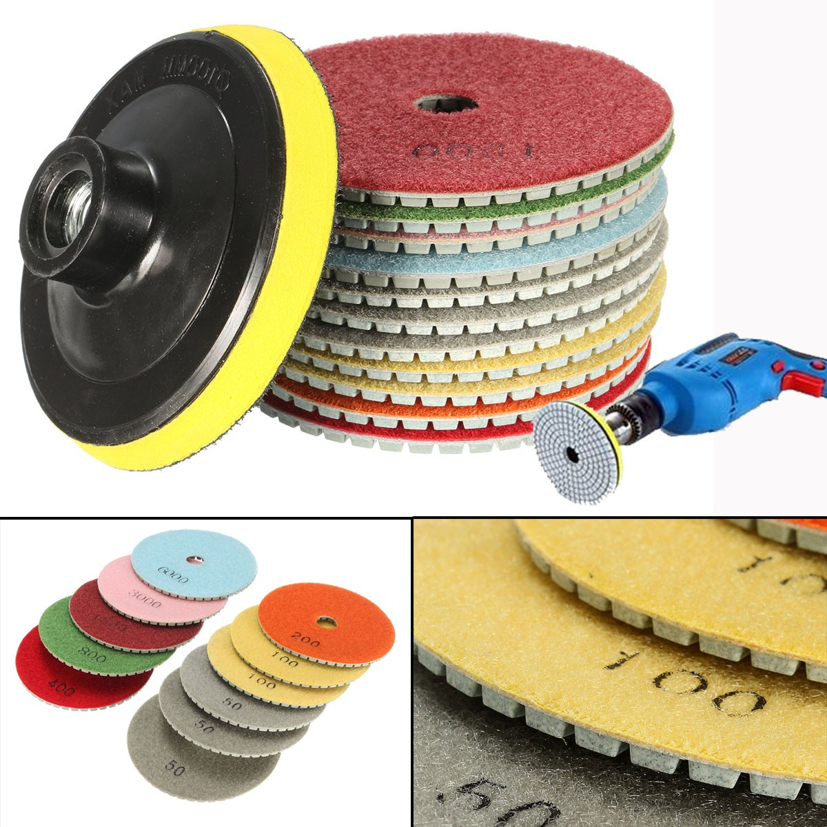 12Pcs Wet Dry 4 Inch Diamond Polishing Pads Granite Concrete Marble Polishing