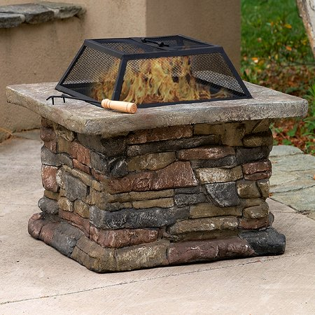 Pit Base - Outdoor Patio Firepit with Matte Steel Fire Bowl, Stone Base 29