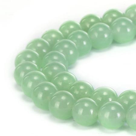 BRCbeads Natural Light Green Jade Gemstone Round 8mm Beads for Jewelry Making