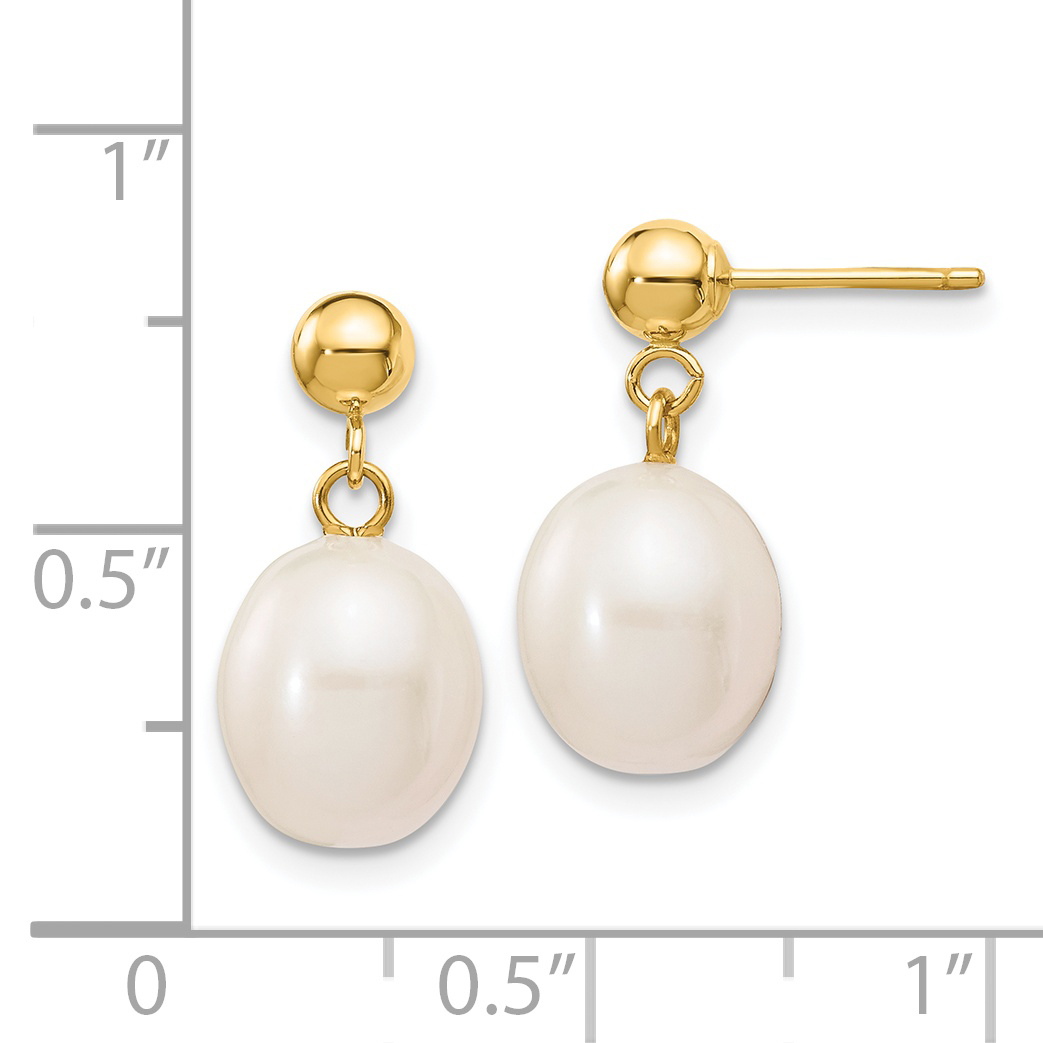 14K Yellow Gold 8-9mm White FW Cultured Pearl Dangle Earrings - image 1 of 2