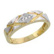 10k Yellow Gold Ladies Diamond Wedding Band Ring Women 0.02 cttw Brilliant Cut 3/16 inch 5mm wide Size 8