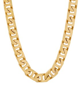 """Men's Yellow Over Stainless Steel Flat Mariner Chain, 24"""""""