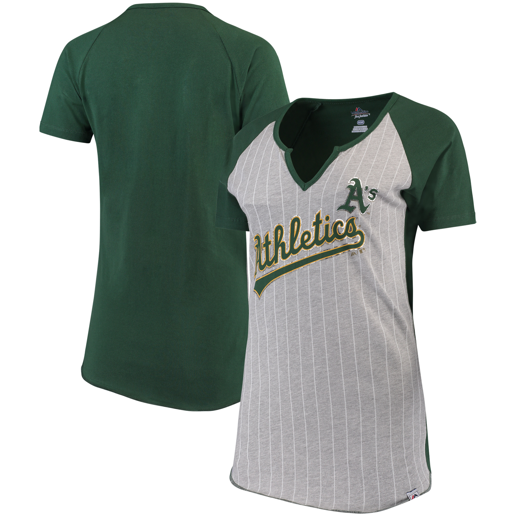Oakland Athletics Majestic Women's From the Stretch V-Notch T-Shirt - Gray/Green