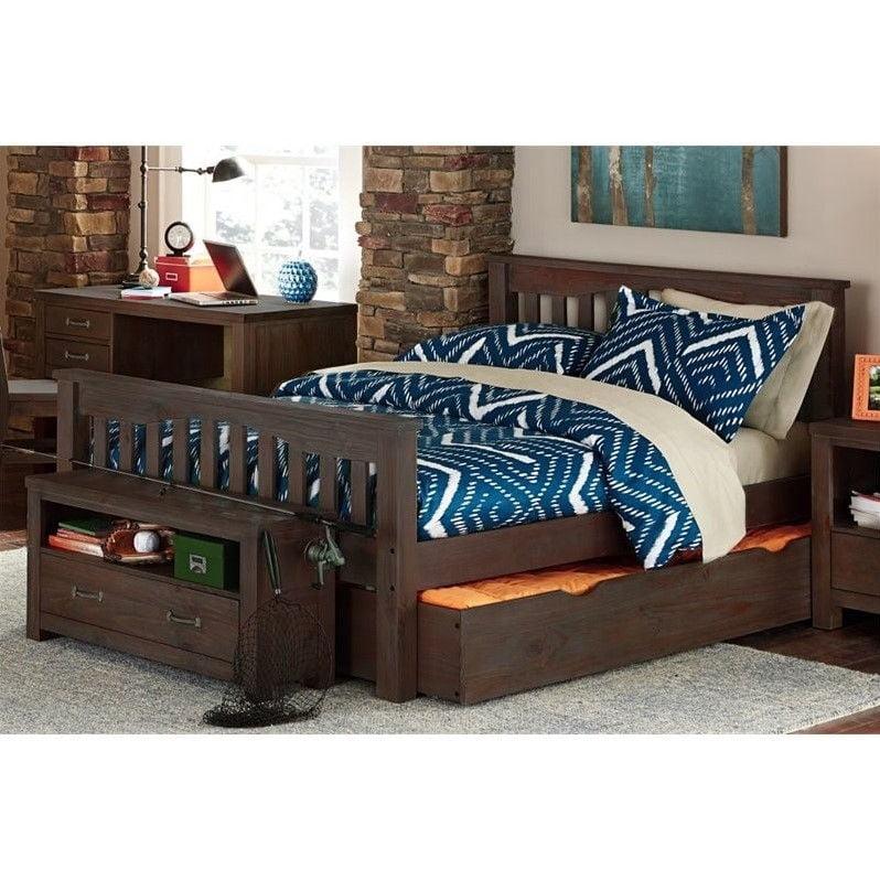 NE Kids Highlands Harper Twin Slat Bed with Trundle in Espresso