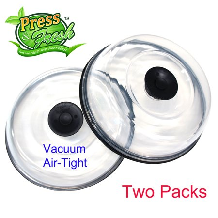 (Press n Fresh Stackable Vacuum Air-tight Food Sealer Container Plate Platter Lid Cover Topper Dome for Left Over Desserts (Two 7