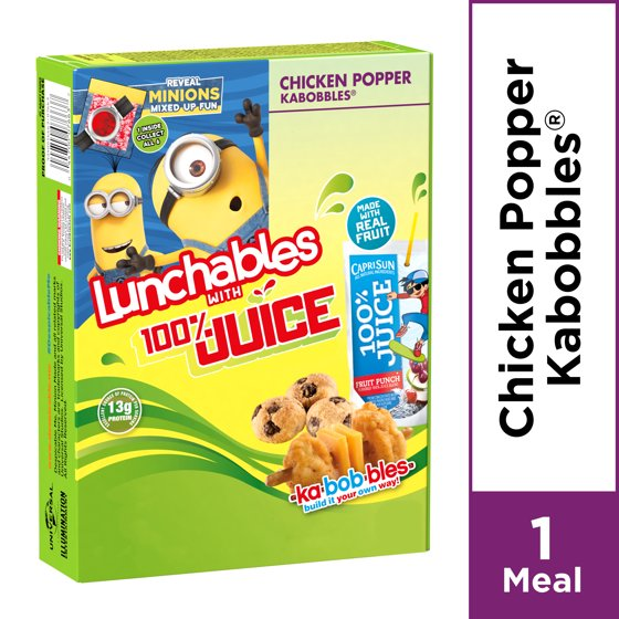 Lunchables Chicken Popper Kabobbles With 100% Juice, 9 4 oz Box
