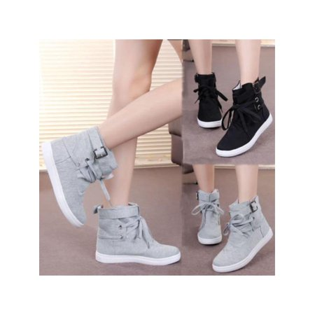 Top Hiking Shoes - Womens Casual Buckle Strap Hiking Flats Lace Up High Top Sports Sneakers Shoes