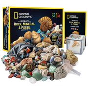 NATIONAL GEOGRAPHIC Rocks and Fossils Kit – 200+ Piece Set Includes Geodes, Real Fossils, Rose Quartz, Jasper, Aventurine, and Many More Rocks, Crystals and Gemstones