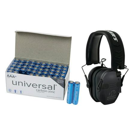 Walker's Game Ear GWP-RSEQM-BT Razor Series Slim Electronic Quad Muff with Bluetooth & UPG AAA 50 PK