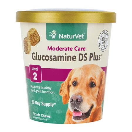 NaturVet Glucosamine DS Plus Level 2 Moderate, Joint Care Support Supplement for Dogs and Cats, 70 Soft