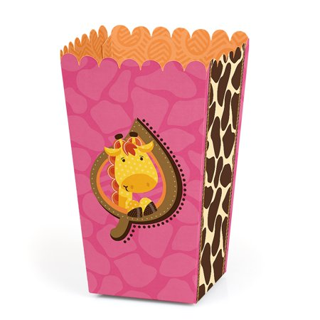Giraffe Girl - Baby Shower or Birthday Party Favor Popcorn Treat Boxes - Set of 12