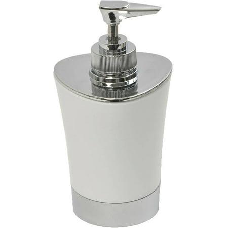 Bath Soap and Lotion Dispenser -Chrome Parts- White Chrome Contemporary Soap Dispenser