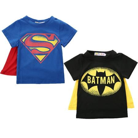 Super Man Outfit (XIAXAIXU Summer Kid Boys Baby Superman Batman T-Shirt Short Sleeve Children Tee)