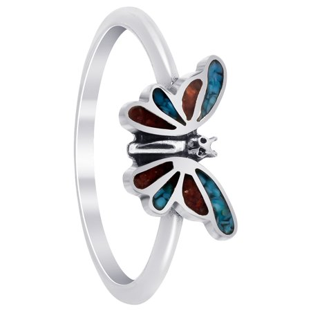 - Gem Avenue 925 Sterling Silver Turquoise Coral Gemstone Butterfly Ring Southwestern Style