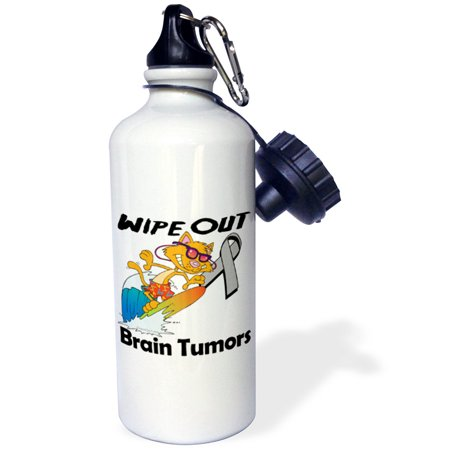 3dRose Wipe Out Brain Tumors Awareness Ribbon Cause Design, Sports Water Bottle, 21oz - Brain Tumor Awareness Ribbon