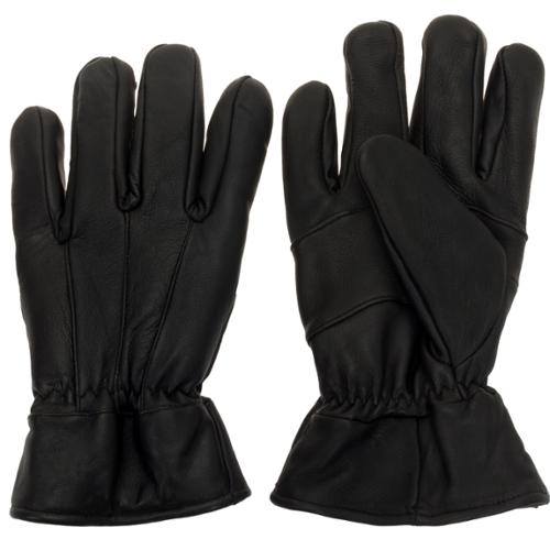 Ross Michaels Men's Thick Leather Driving Gloves w/ Elastic Gather (Black Large)