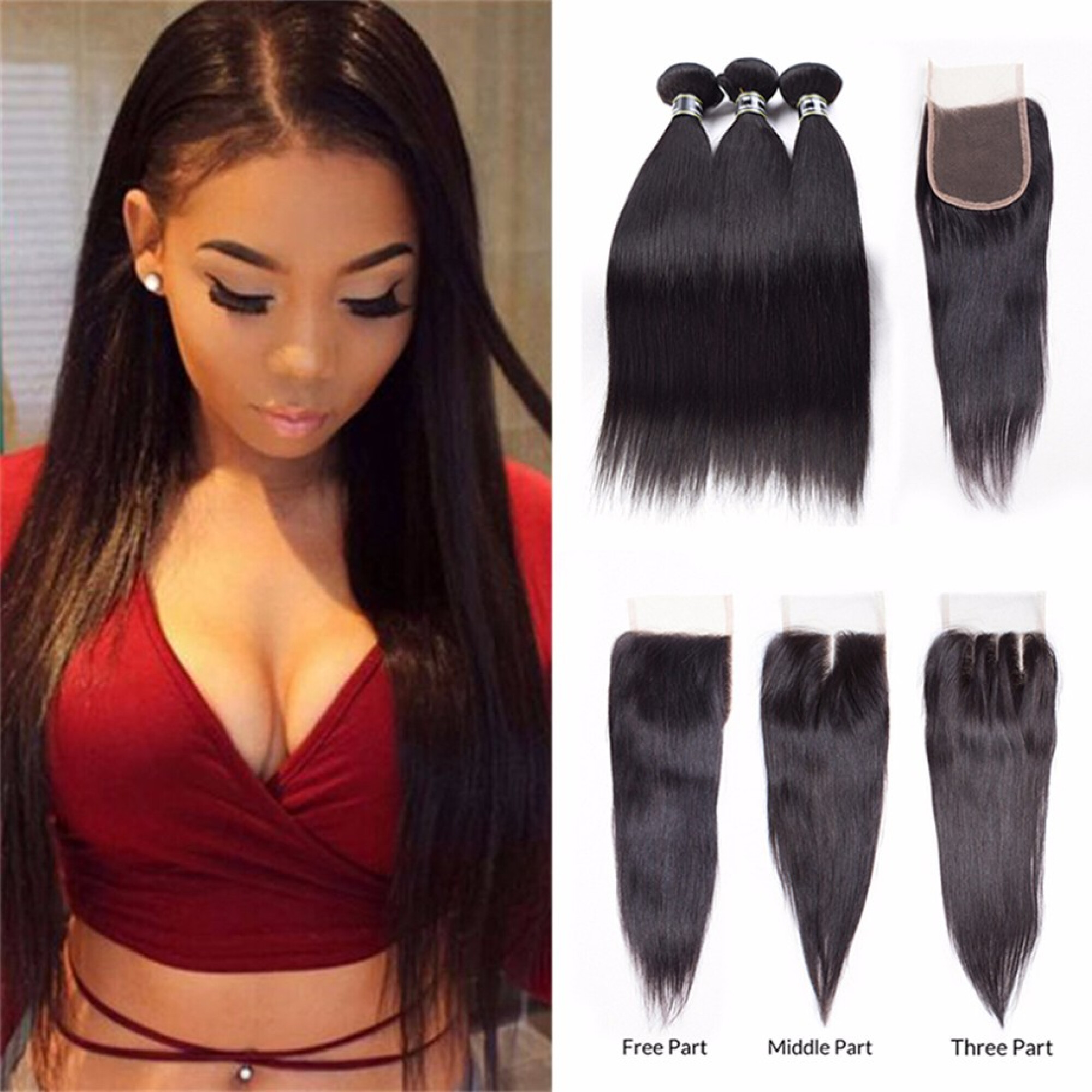 """Amazing Star Straight Hair 3 Bundles with Closure Free Part Indian Virgin Human Hair Weave, 16""""18""""20"""" with 16"""""""