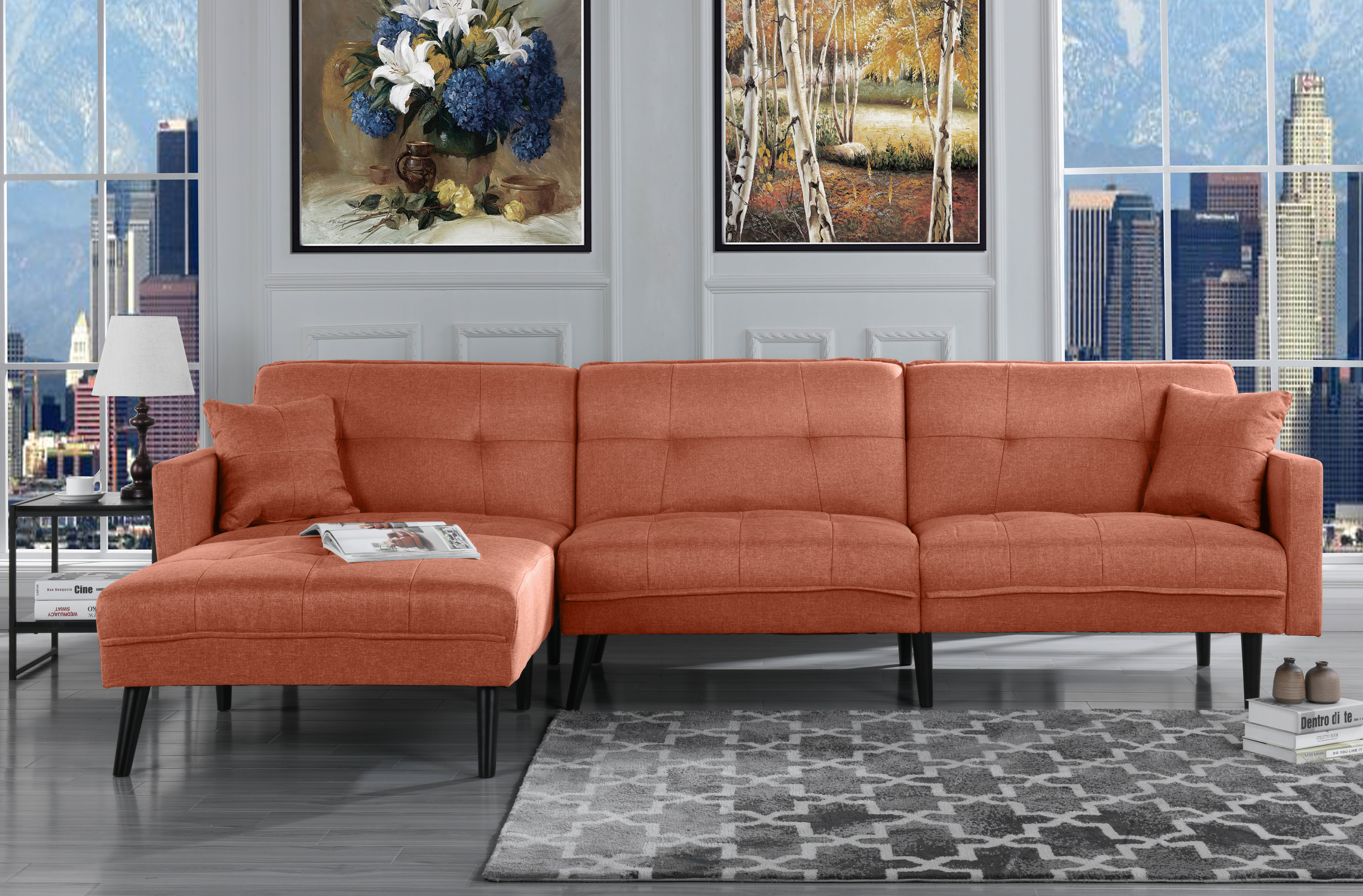Modern Mid Century Linen Sofa Sleeper Futon Sofa, Living Room L Shape Sectional Couch with... by