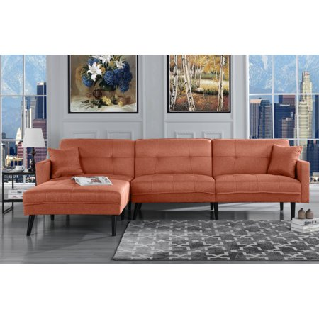 Modern Mid Century Linen Sofa Sleeper Futon Sofa, Living Room L ...