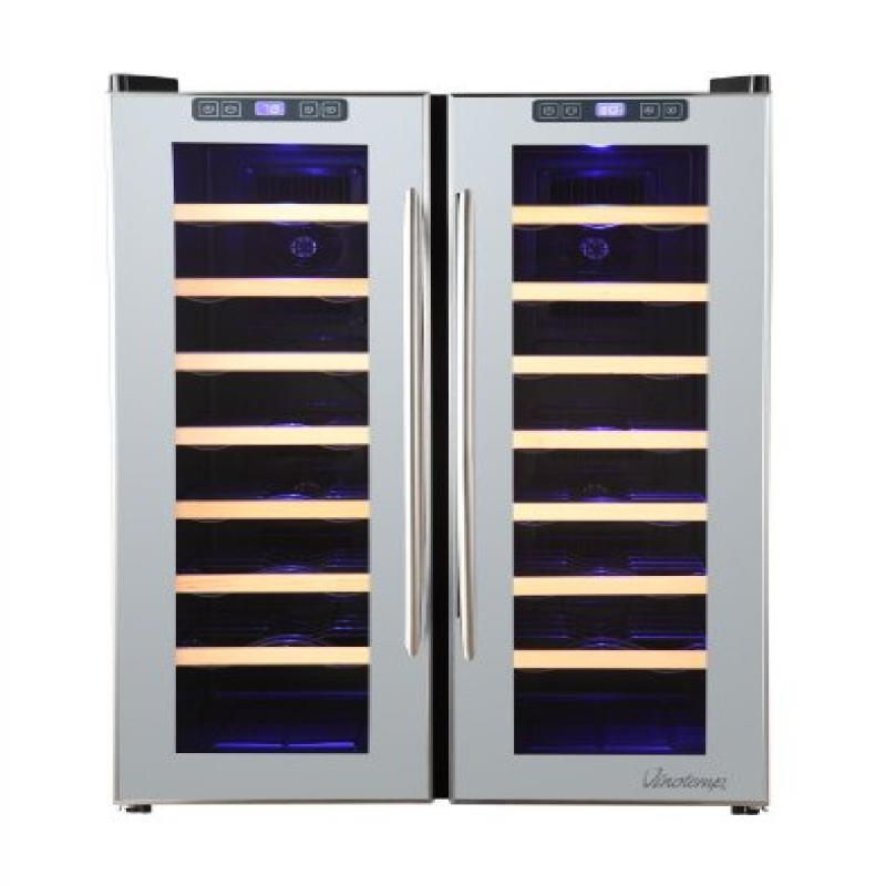 Vinotemp 48-Bottle Dual-Zone Mirrored Wine Cooler