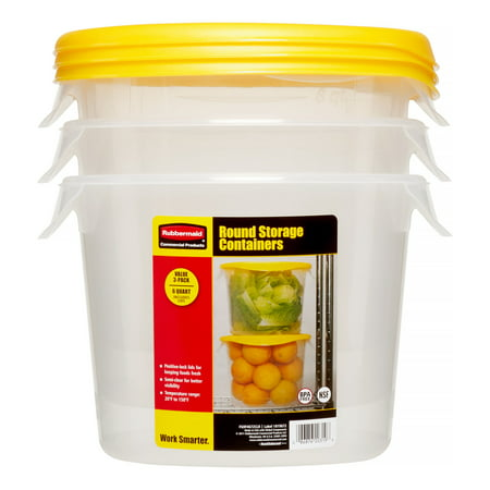 Rubbermaid Food Storage Containers, Round, 192 Oz, 3 Ct - Walmart.com